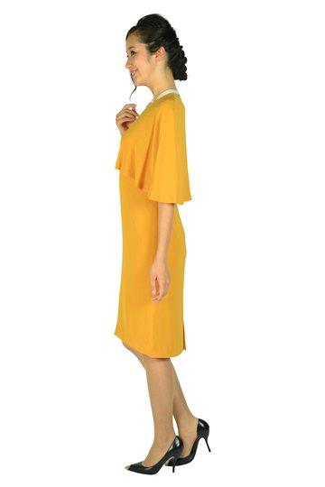 ケープ袖Iラインマスタードドレス