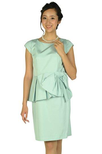 ウェストフリル&リボンサックスドレス