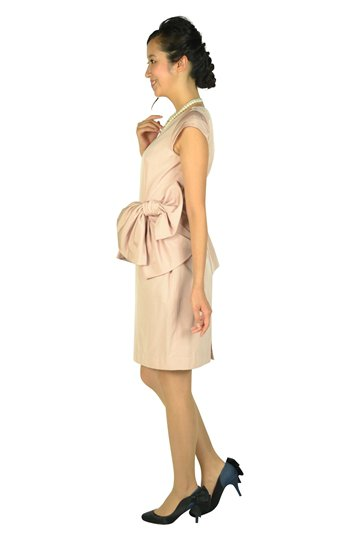 ウェストフリル&リボンピンクドレス