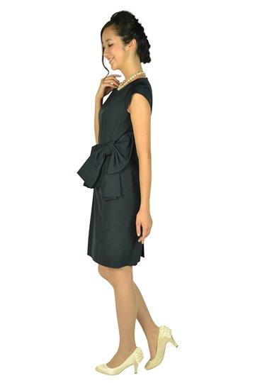 ウェストフリル&リボンネイビードレス