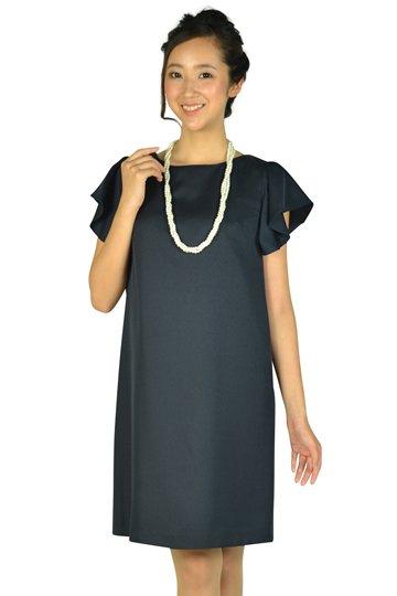フリル袖シンプルネイビードレス