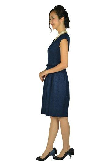 ウエストリボン光沢ネイビードレス