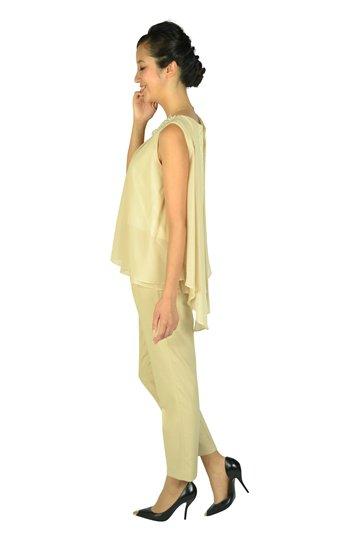 異素材ベージュパンツドレス