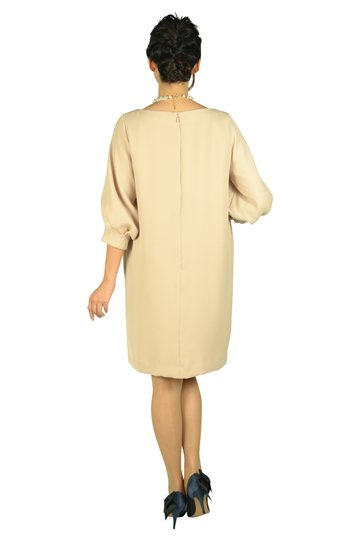 Iライン袖付きピンクベージュドレス