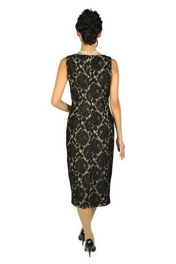ブラック×ベージュミディタイトドレス