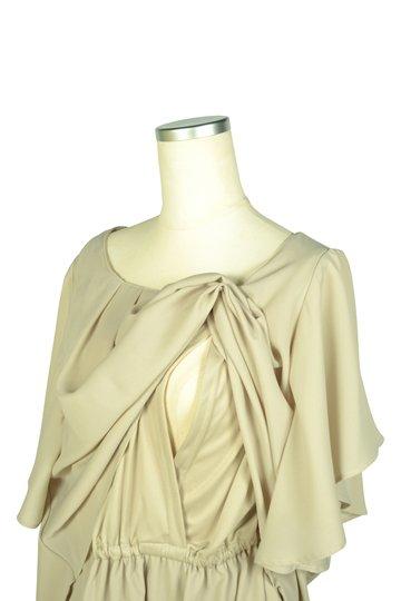 【授乳OK】フレア袖バイカラーパンツドレス