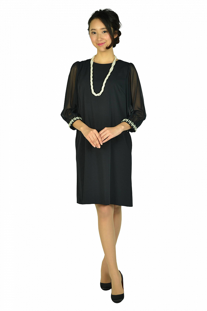 シースルー袖濃紺ドレス