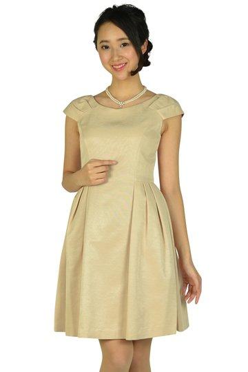 Vネックシンプルベージュドレス