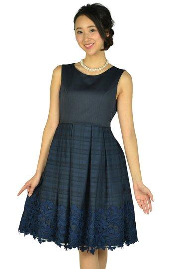 チェックフラワーネイビードレス