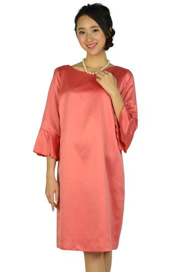 フレアスリーブ光沢サーモンピンクドレス