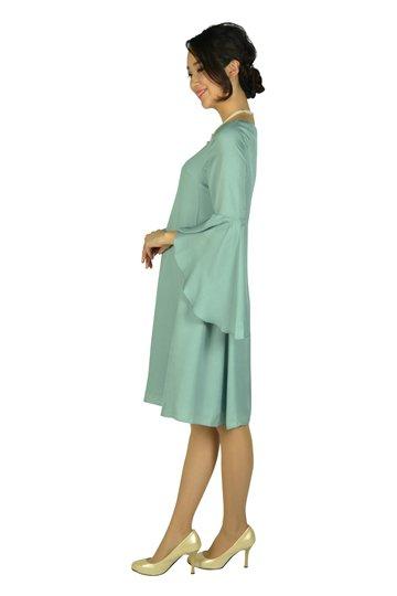 フレアースリーブスモーキーグリーンドレス