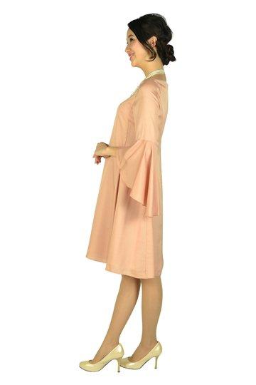 フレアースリーブスモーキーオレンジドレス