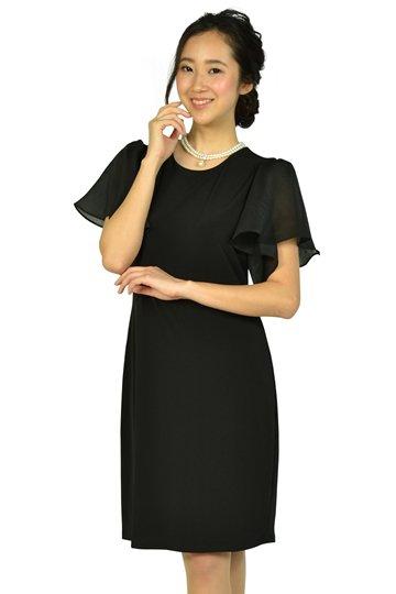 シースルーフレア袖ブラックドレス