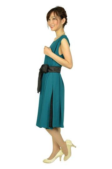 【授乳OK】ゆったりサイドレースグリーンドレス