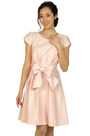ペタルスリーブウエストリボンピンクドレス