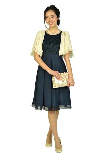 半袖レースシャンタンネイビードレス