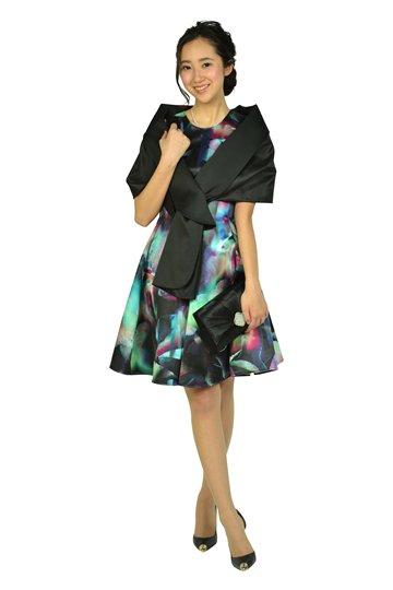 ぼかしフラワー柄マルチカラードレス