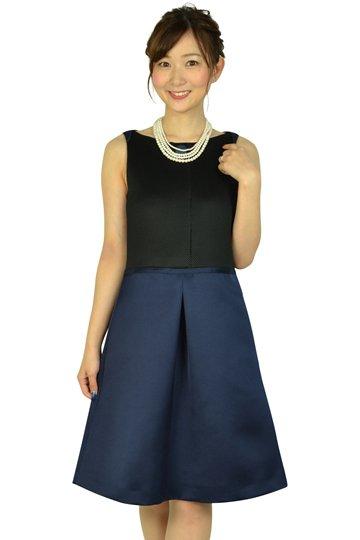 Aライン異素材ブラック×ネイビードレス