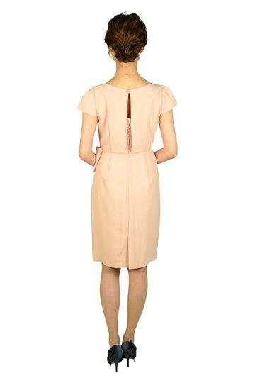 ウエストタック袖付きピンクドレス