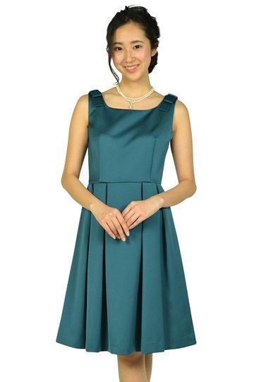 ショルダーリボングリーンドレス