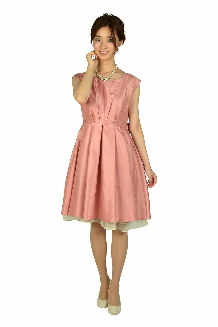タック&フラワーオーガンジーピンクドレス