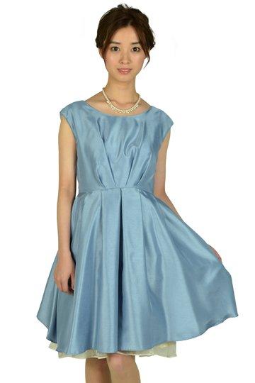 タック&フラワーオーガンジーサックスドレス