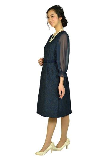 シフォン袖ネイビーレースドレス
