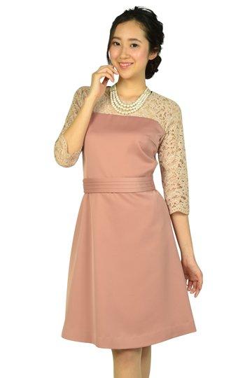 袖レースピンクベージュドレス