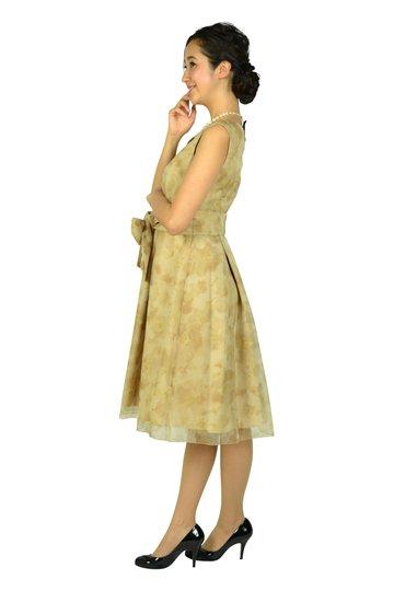 ぼかしフラワーオーガンジーベージュドレス