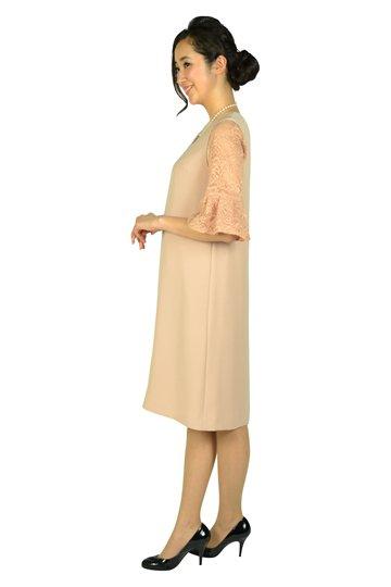 インナーレース袖付きピンクベージュドレス
