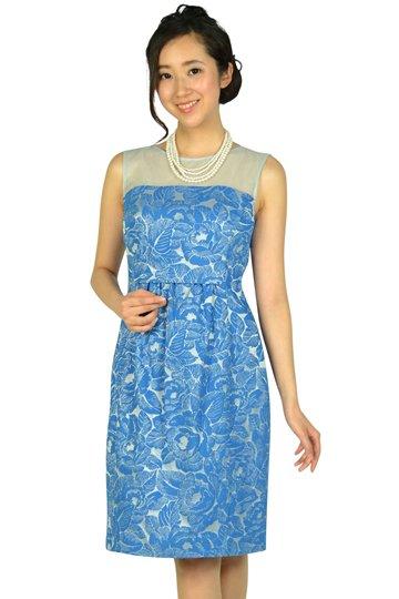 フラワー刺繍ブルードレス