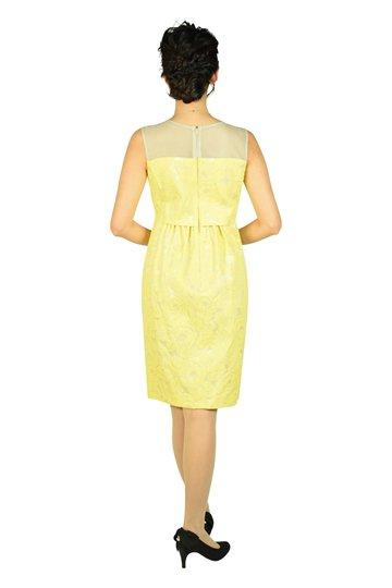 フラワー刺繍レモンイエロードレス
