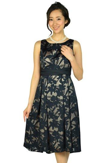 上質エレガントフラワーネイビードレス