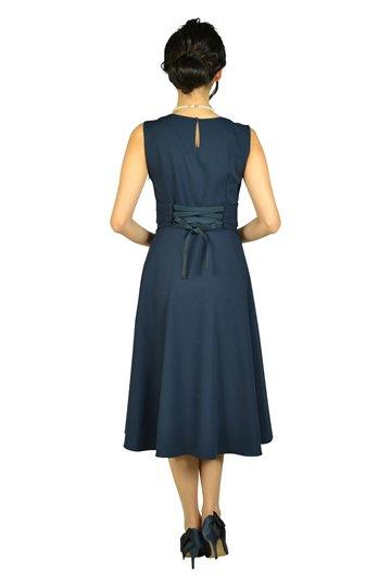 ウエストマーク編み上げネイビードレス