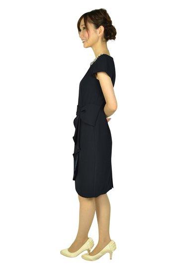 ウエストタック袖付きネイビードレス