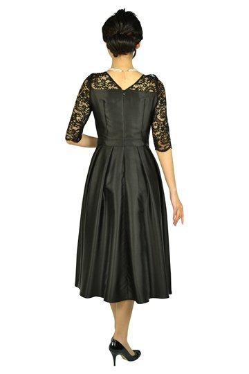 5分袖レースミディ丈ブラックドレス