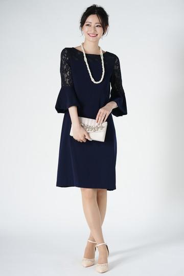 異素材ベル袖ネイビードレス