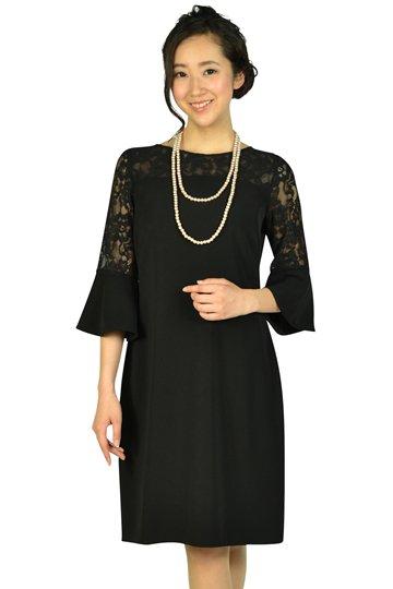 異素材ベル袖ブラックドレス