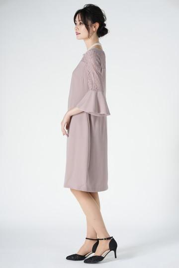 異素材ベル袖ピンクドレス