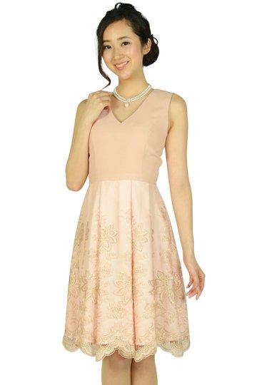 チュールスカラレースピンクベージュドレス