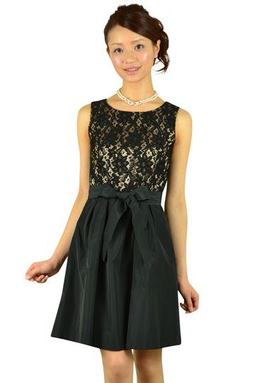 ブラックレース切り替えドレス