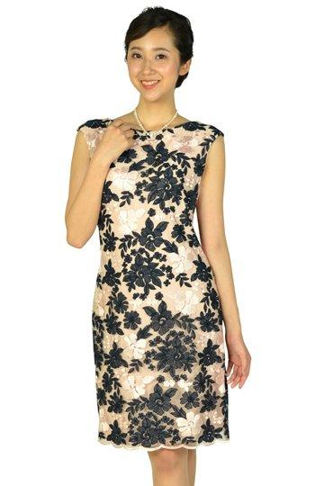 フラワー刺繍ネイビー×ピンクドレス