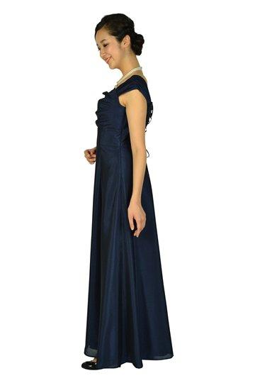 上品シャンタン編み上げネイビーロングドレス
