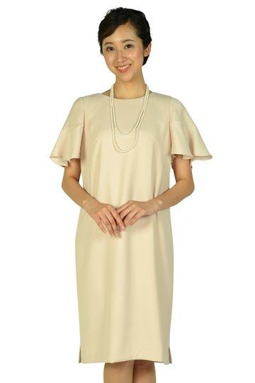 ベル袖ゆったりピンクドレス