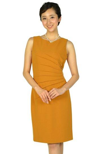 ウエストタック&ファスナーマスタードドレス