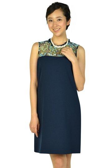 トップスフラワー刺繍ネイビードレス
