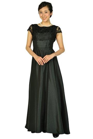 パニエ付きエレガントブラックロングドレス