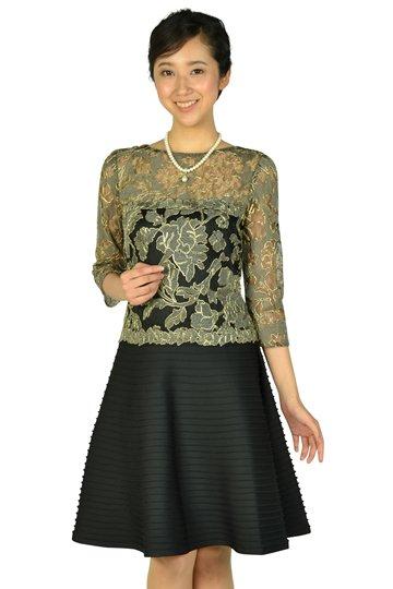 エレガントレース袖ありブラックドレス