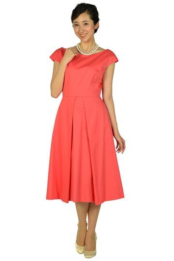 バックワイドデザインオレンジピンクドレス