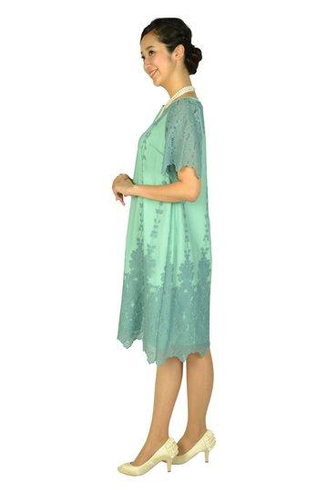 袖ありフラワー刺繍ミントグリーンドレス